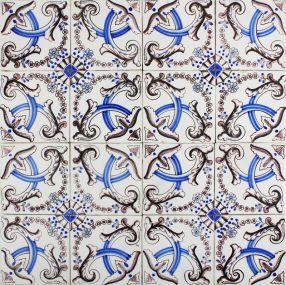 Antique Dutch Delft ornamental wall tiles with Flower Bow motifs, 19th century