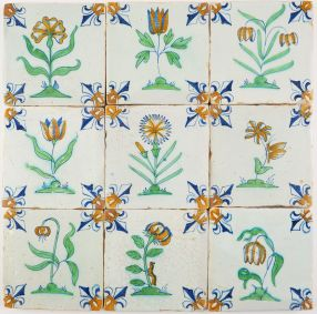 Antique Delft wall tiles with nine beautiful polychrome flowers and insects, 17th century