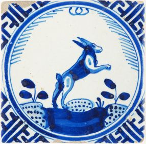 Antique Delft tile in blue with a hare, 17th century Rotterdam