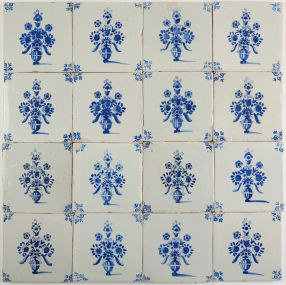 Antique Delft wall tiles with flower pots in blue, 17th century