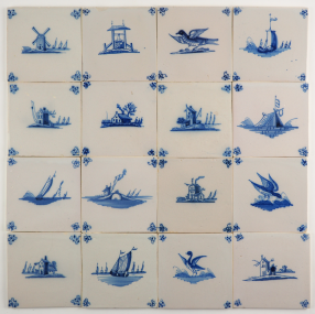 Antique Delft wall tiles with landscapes in blue, 18th century Rotterdam
