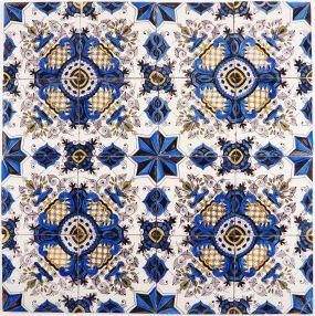 Antique Dutch Delft polychrome ornamental wall tiles known as Chintz Stars, 18th century