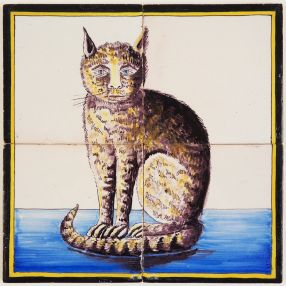 Antique Delft polychrome tile mural with a cat on four tiles, 19th century
