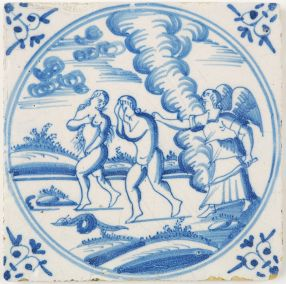 Antique Delft tile depicting the expulsion from the Garden of Eden, 18th century
