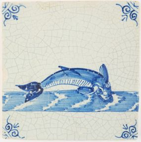 Antique Delft tile with a large fish in blue, 17th century Rotterdam
