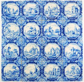 Antique Delft wall tiles in blue with various landscape scenes, original 19th century