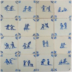 Antique Delft wall tiles in blue with many different child's play scenes, 17th century