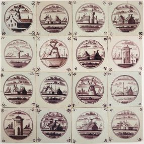 Antique manganese Dutch Delft wall tiles with landscape scenes in circle, 18th and 19th century
