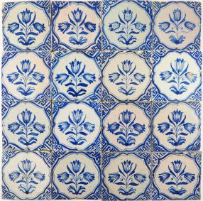 Antique Dutch Delft wall tiles with three headed tulips blue, 17th century