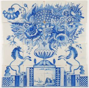 Antique Delft tile mural in blue with a richly decorated flower vase and two prancing horses, 19th century