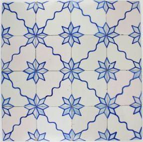 Antique Dutch Delft wall tiles with a ornamentel star motif, 19th century