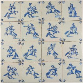 Extraordinary field of 110 antique Dutch Delft tiles with an entire Cavalry army, 17th century