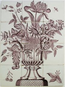 Antique Dutch tile mural with manganese flower vase