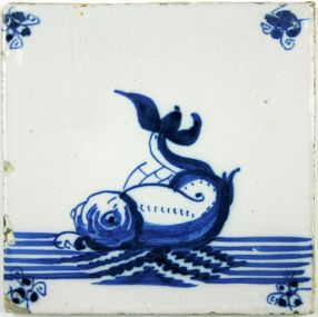Dutch Delft tile with dolphin