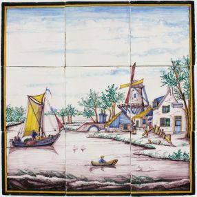 Polychrome antique Delft tile mural with a Dutch landscape scene, 19th century