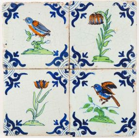 Set - Four polychrome Delft tiles with birds and flowers, early 17th century