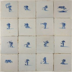 One of a kind set of original 17th century Dutch wall tiles with Cupids in blue