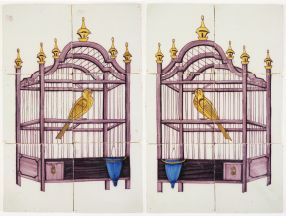 A pair of antique Delft tile murals depicting bird cages with yellow canaries, 19th century