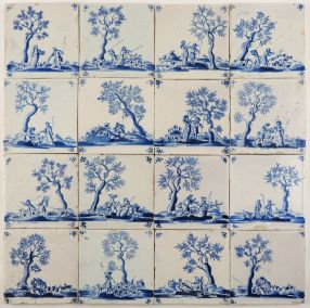 Antique Delft wall tiles in blue with shepherd scenes based on the play 'Il pastor fido', 17th century