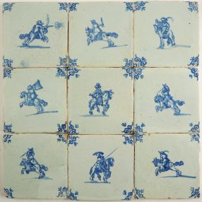Set of 9 antique Delft wall tiles with horsemen in blue, 17th century
