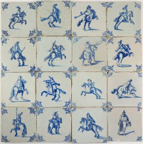 Reclaimed antique Delft wall tiles with horsemen, 17th century
