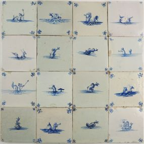 Antique Delft wall tiles with sea creatures, monsters and mythical figures, 17th century
